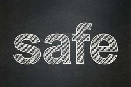 text Safe on Black chalkboard background, 3d render photo