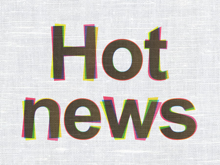 News concept: CMYK Hot News on linen fabric texture background, 3d render photo