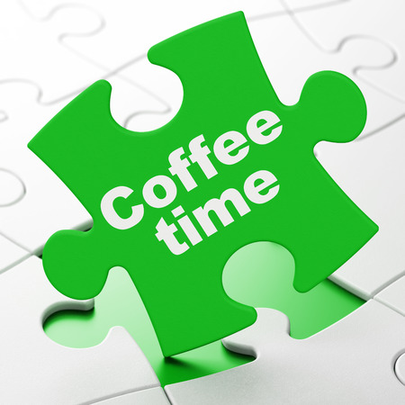 Coffee Time on Green puzzle pieces background, 3d render photo