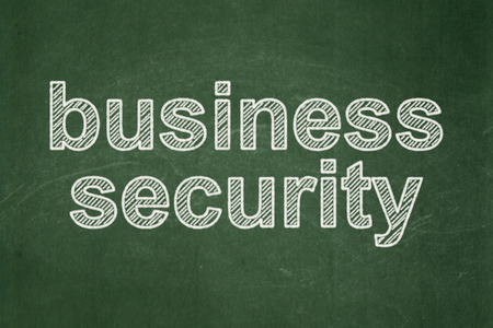 text Business Security on Green chalkboard background, 3d render photo