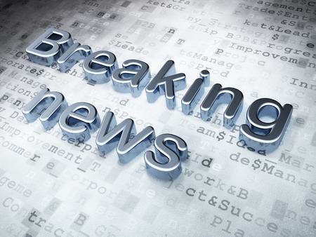 Silver Breaking News on digital background, 3d render photo