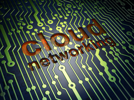 circuit board with word Cloud Networking, 3d render photo