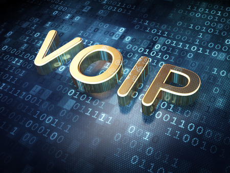 voip: Golden VOIP on digital background, 3d render Stock Photo