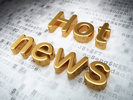 Golden Hot News on digital background, 3d render photo