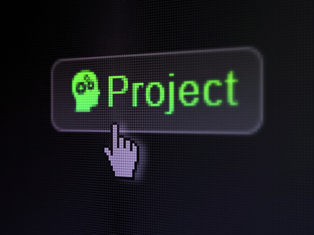 pixelated words Project and Head With Gears icon on button with Hand cursor on digital computer screen background photo
