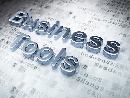 Silver Business Tools on digital background, 3d render