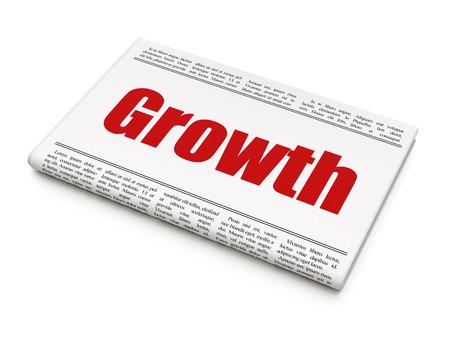 newspaper headline Growth on White background, 3d render photo