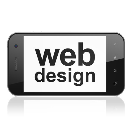 smartphone with text Web Design on display photo