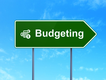 budgeting: Budgeting and Calculator icon on green road (highway) sign