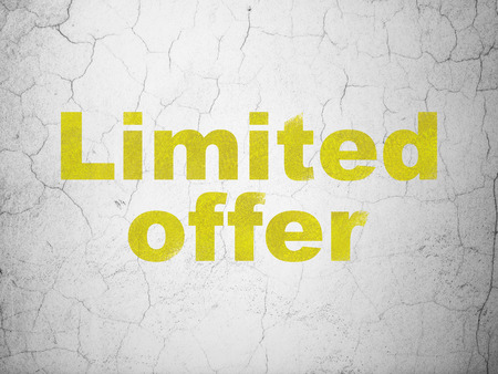 busines: Yellow Limited Offer on textured concrete wall background, 3d render