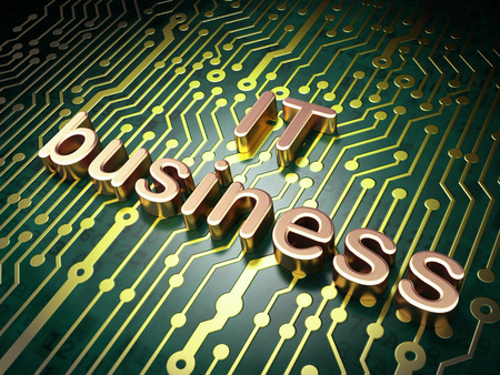 buisnes: circuit board with word IT Business, 3d render Stock Photo
