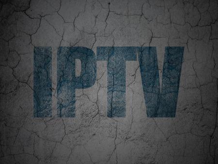 iptv: Blue IPTV on grunge textured concrete wall background, 3d render Stock Photo