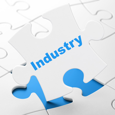 Industry on White puzzle pieces background, 3d render photo