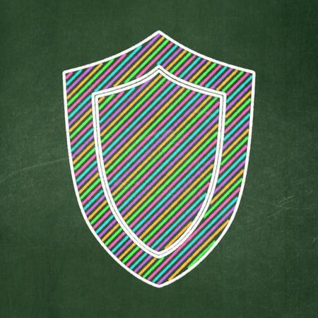 Shield icon on Green chalkboard background, 3d render photo