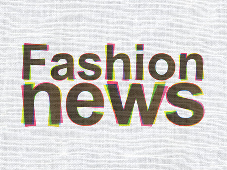 CMYK Fashion News on linen fabric texture background, 3d render photo