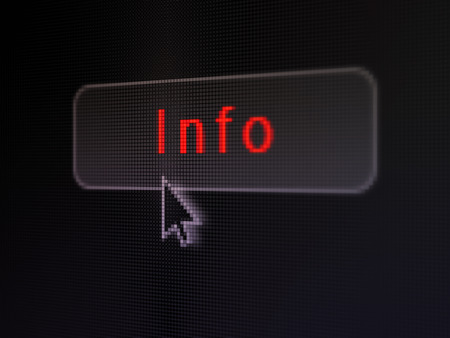 it tech: pixelated words Info on button with Arrow cursor on digital computer screen background Stock Photo