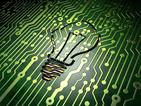 broken strategy: circuit board with Light Bulb icon, 3d render Stock Photo