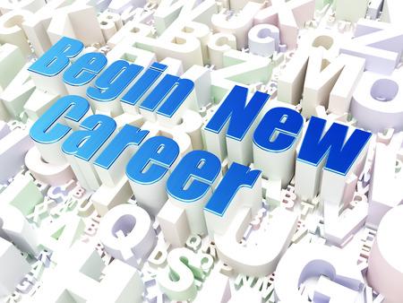 start: Business-Konzept: neue Karriere beginnen auf Alphabet Hintergrund, 3d render Lizenzfreie Bilder