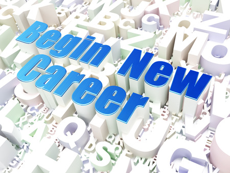 comenzar: Concepto de negocio: Comience nueva carrera en el alfabeto, 3d