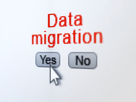 buttons yes and no with pixelated word Data Migration and Arrow cursor on digital computer screen photo