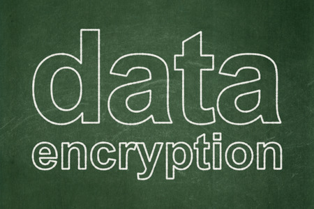 Safety concept: text Data Encryption on Green chalkboard background, 3d render photo