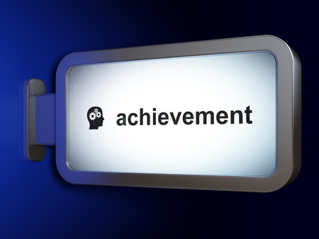 Education concept: Achievement and Head With Gears on advertising billboard background, 3d render photo