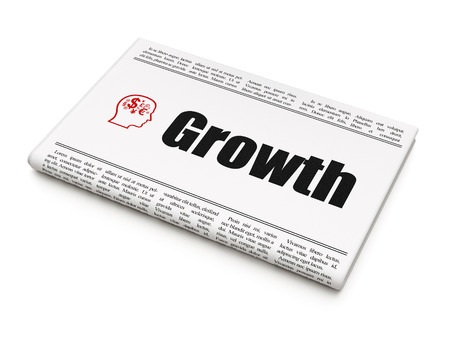 Business concept: newspaper headline Growth and Head With Finance Symbol icon on White background, 3d render photo