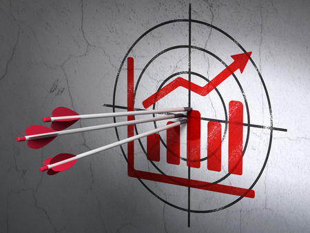 Success news concept: arrows hitting the center of Red Growth Graph target on wall background, 3d render photo