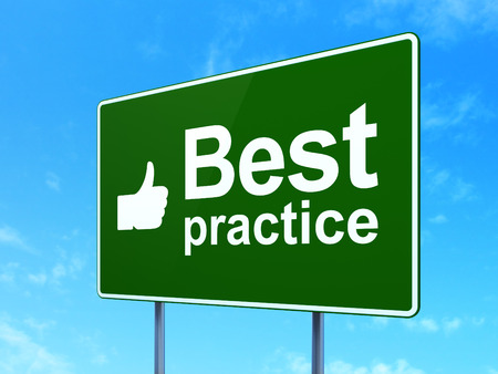 Education concept: Best Practice and Thumb Up icon on green road (highway) sign, clear blue sky background, 3d render photo
