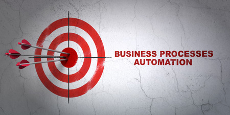 buisnes: Success business concept: arrows hitting the center of target, Red Business Processes Automation on wall background, 3d render
