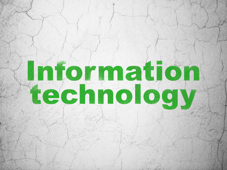 Information concept: Green Information Technology on textured concrete wall background, 3d render photo