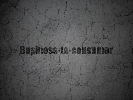 busines: Business concept: Black Business-to-consumer on grunge textured concrete wall background, 3d render