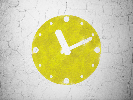 Timeline concept: Yellow Clock on textured concrete wall background, 3d render photo