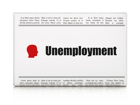 buisnes: Finance concept: newspaper headline Unemployment and Head icon on White background, 3d render