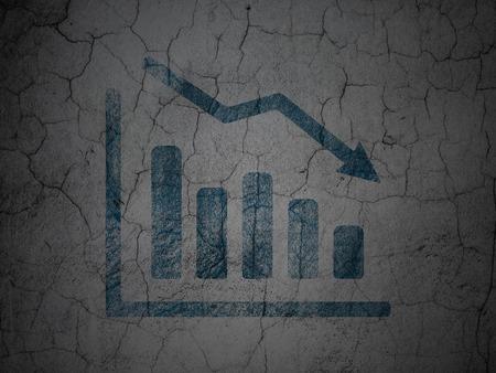 News concept: Blue Decline Graph on grunge textured concrete wall background, 3d render photo
