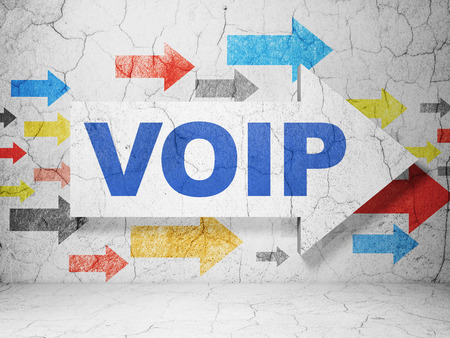 Web development concept:  arrow with VOIP on grunge textured concrete wall background, 3d render photo