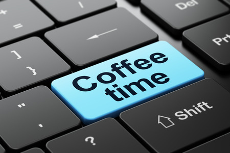 Time concept: computer keyboard with word Coffee Time, selected focus on enter button background, 3d render photo