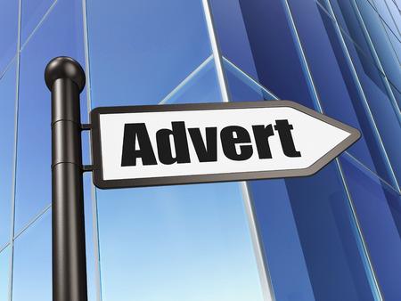 advert: Marketing concept: sign Advert on Building background, 3d render