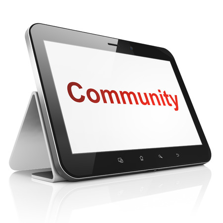 Social network concept: black tablet pc computer with text Community on display. Modern portable touch pad on White background, 3d render photo