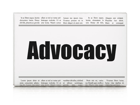 Law concept: newspaper headline Advocacy on White background, 3d render photo