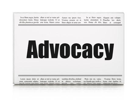 lex: Law concept: newspaper headline Advocacy on White background, 3d render
