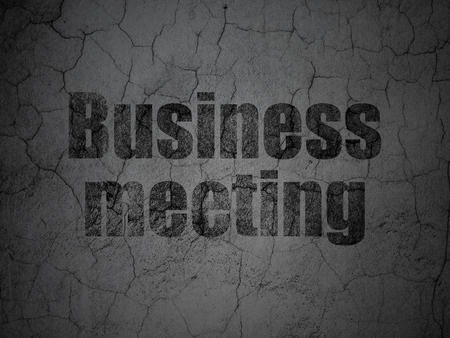 busines: Finance concept: Black Business Meeting on grunge textured concrete wall background, 3d render