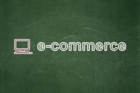 Business concept: Computer Pc icon and text E-commerce on Green chalkboard background, 3d render photo