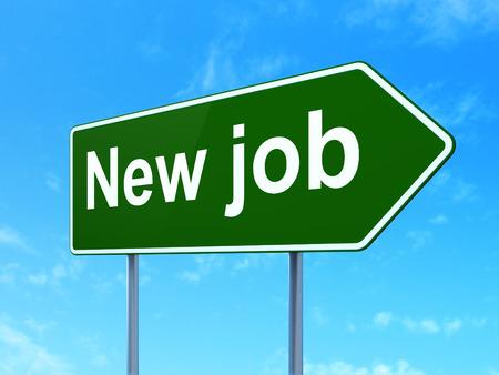 Business concept: New Job on green road (highway) sign, clear blue sky background, 3d render Foto de archivo