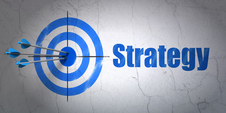 Success finance concept: arrows hitting the center of target, Blue Strategy on wall background, 3d render photo