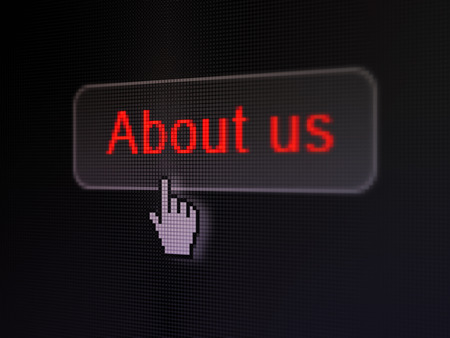 Advertising concept: pixelated words About Us on button with Hand cursor on digital computer screen background, selected focus 3d render photo