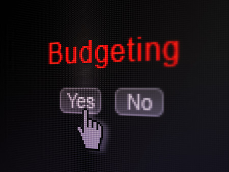 Finance concept: buttons yes and no with pixelated word Budgeting and Hand cursor on digital computer screen, selected focus 3d render photo