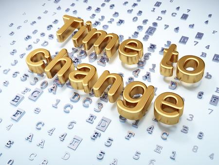 Timeline concept: Golden Time to Change on digital background, 3d render photo