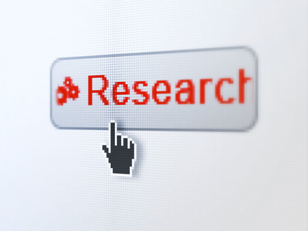Advertising concept: pixelated words Research and Gears icon on button withHand cursor on digital computer screen background, selected focus 3d render photo