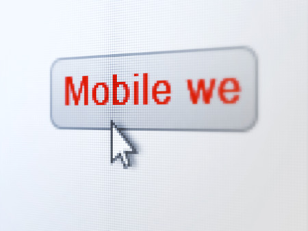 Web design concept: pixelated words Mobile Web on button with Arrow cursor on digital computer screen background, selected focus 3d render photo